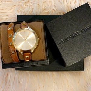 Michael Kors leather wrap watch w gold  accents